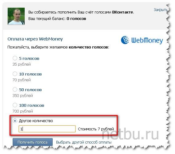 Как купить 1 голос Вконтакте