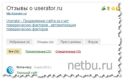 Userator отзывы на saiter ru