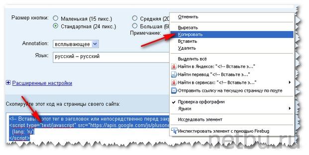 Скопировать код Google для кнопки +1