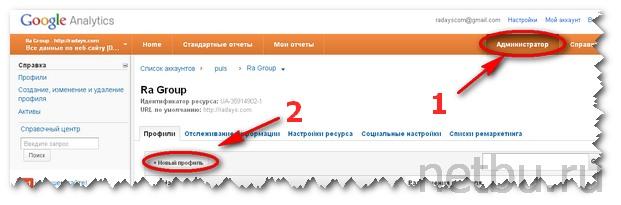 Добавить новый сайт в Google Analitics
