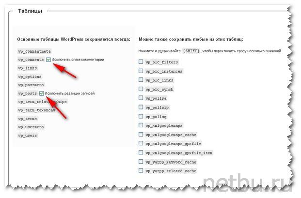 Настройка плагина WordPress Database Backup