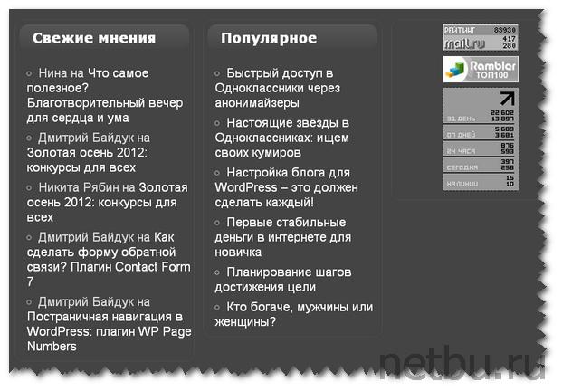 Виджет популярные записи WordPress в футер