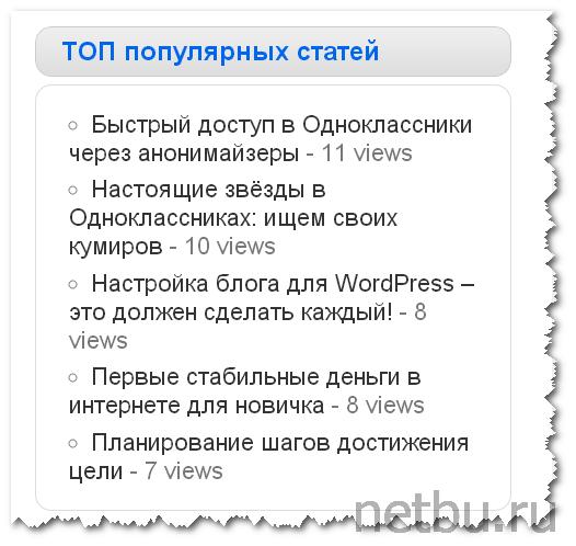 Виджет популярные статьи WordPress