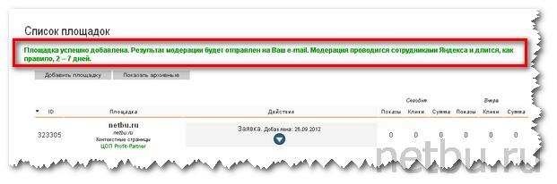 Площадка на модерации в Яндекс Директе