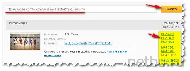 Cкачать видео через YouTube