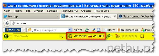 Значение Alexa Traffic Rank Firefox