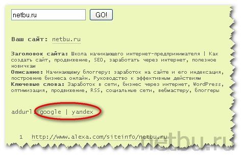 Добавить url для индексации трастовых ссылок