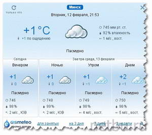 Плагин Gismeteo для Google Chrome
