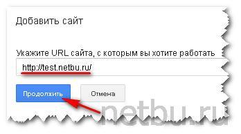 Ввести url адрес сайта в Гугл для веб-мастеров