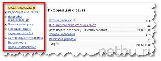Меню в Яндекс Вебмастере