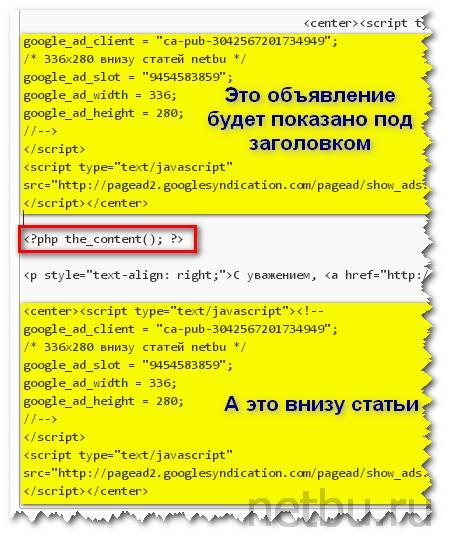 Вставить код контекстной рекламы в статью